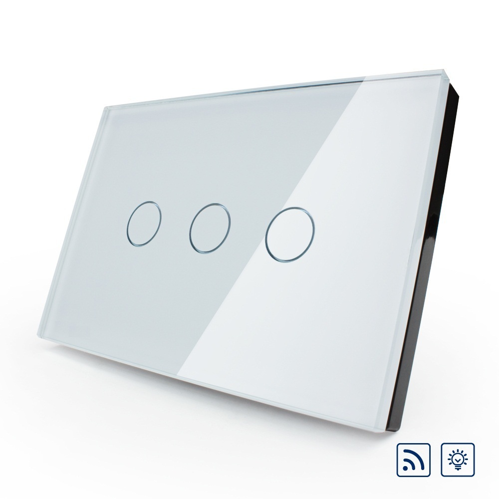 US/AU standard, Wireless Touch Switch VL-C303DR-81,Ivory Crystal Glass Panel Touch Screen, Dimmer and Remote Wall Light Switch us au standard touch switch crystal glass panel wall light touch dimmer switch gold black white