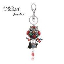 Charm Metal Keychain Alloy Enamel Cartoon Animal Owl Bird Car Bag Pendant Keychains for Women Cute Key Ring Chains Jewelry 2019