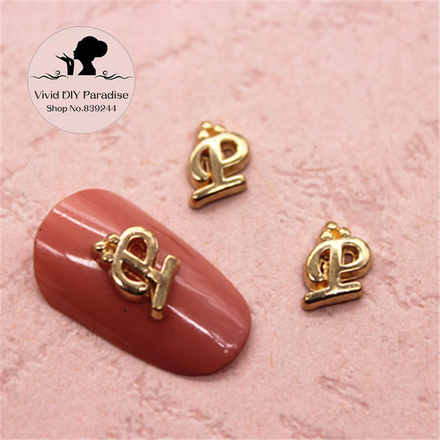 20pcs 3D Gold Letter P Charm Alloy Nail Jewelry Supplies for DIY ...