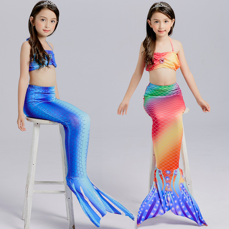 Children Little Mermaid Tail Costume  Ariel Bikini Summer Swimsuit Evening Dress child girl bikini Bathing Suit Beach Swim Wear