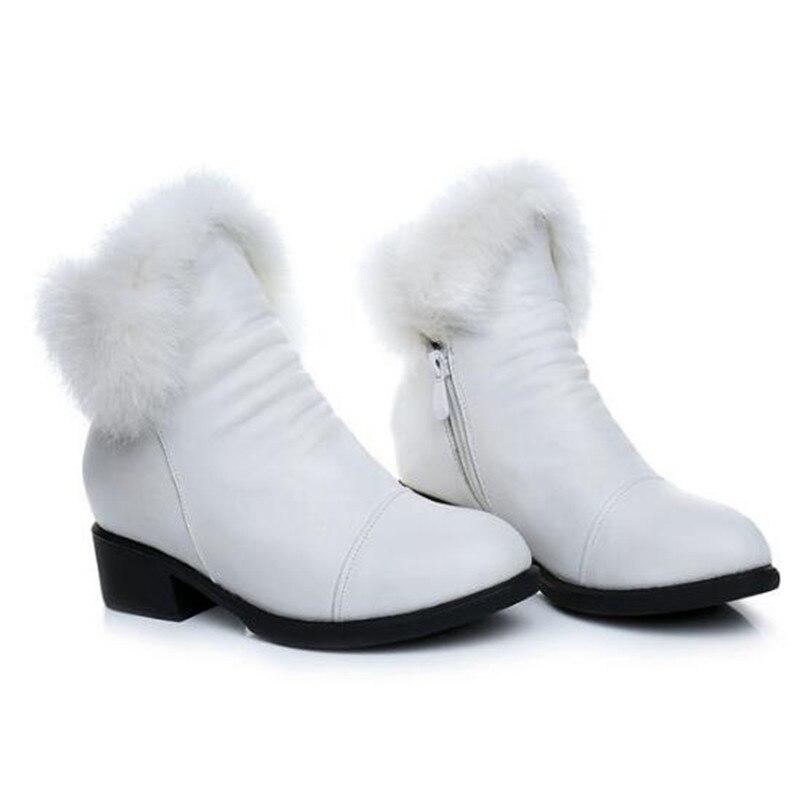 Mode Timetang Marque Femmes Nouveau Neige De Noir En Élégante Cuir blanc Cheville 2018 Automne Hiver Vachette Chaussures Bottes marron q5j43ARL
