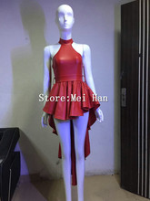 Fashion Cute Red Leather Dress For Women Sexy Bow Trailing Party Dresses Stage Dance Nightclub Costume Female Singer Wear