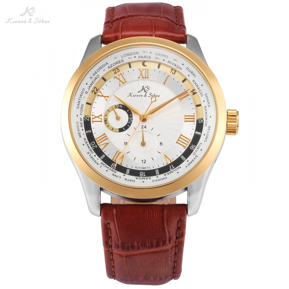 Imperial KS Automatic White 24 Hours Day Roman Numerals masculino Relogio Brown Leather Strap Mechanical Mens Wrist Watch /KS305 forsining automatic tourbillon men watch roman numerals with diamonds mechanical watches relogio automatico masculino mens clock