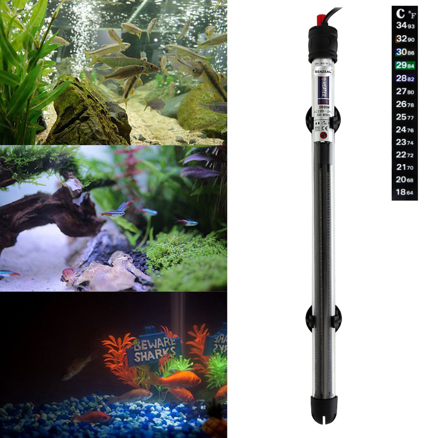 High Quality Aquarium Heater 100W/300W/500W HBG Submersible Temperature Adjustment Thermostat Heating Rod for Fish Tank