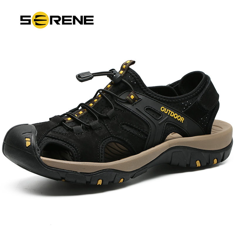 SERENE Brand Men Safety Toe Protect Sandals Top Cow Leather Breathable Mesh Sandalias 2018 High Quality Summer Beach Water Shoes