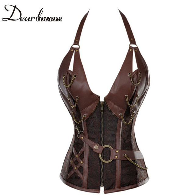 Plus size 4XL Gothic style bustier & corsets Grand brown Steampunk Leather Clasp Overbust corset for women corselet tight lacing