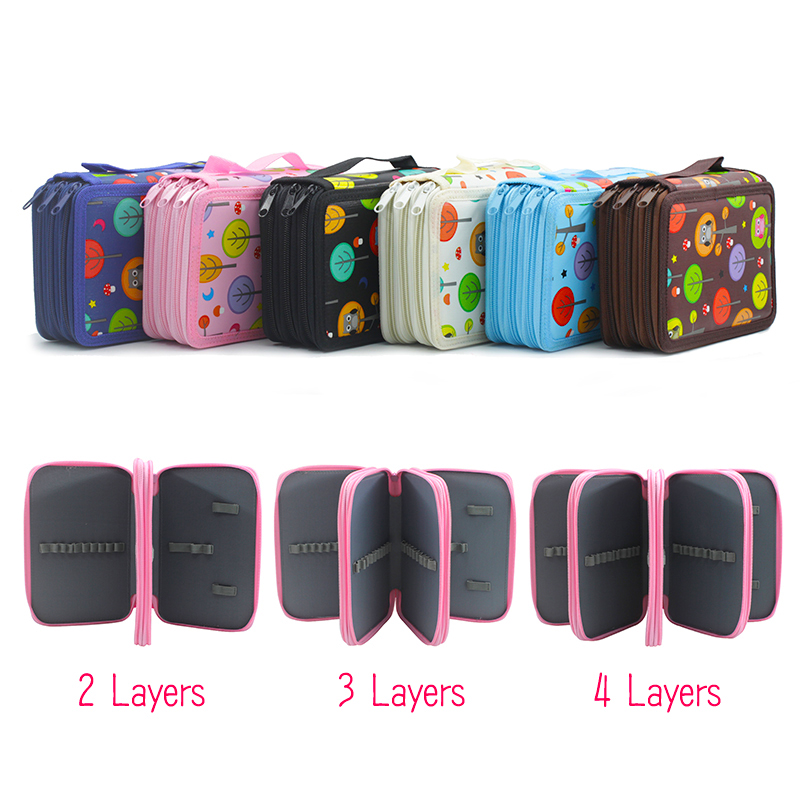 Kawaii Cute Pencil Case Kids 2 3 4 Layers Big Capacity Estojo Escolar School Pencil Bag Potlood Tas Estuches Stationery Box big capacity high quality canvas shark double layers pen pencil holder makeup case bag for school student with combination coded lock