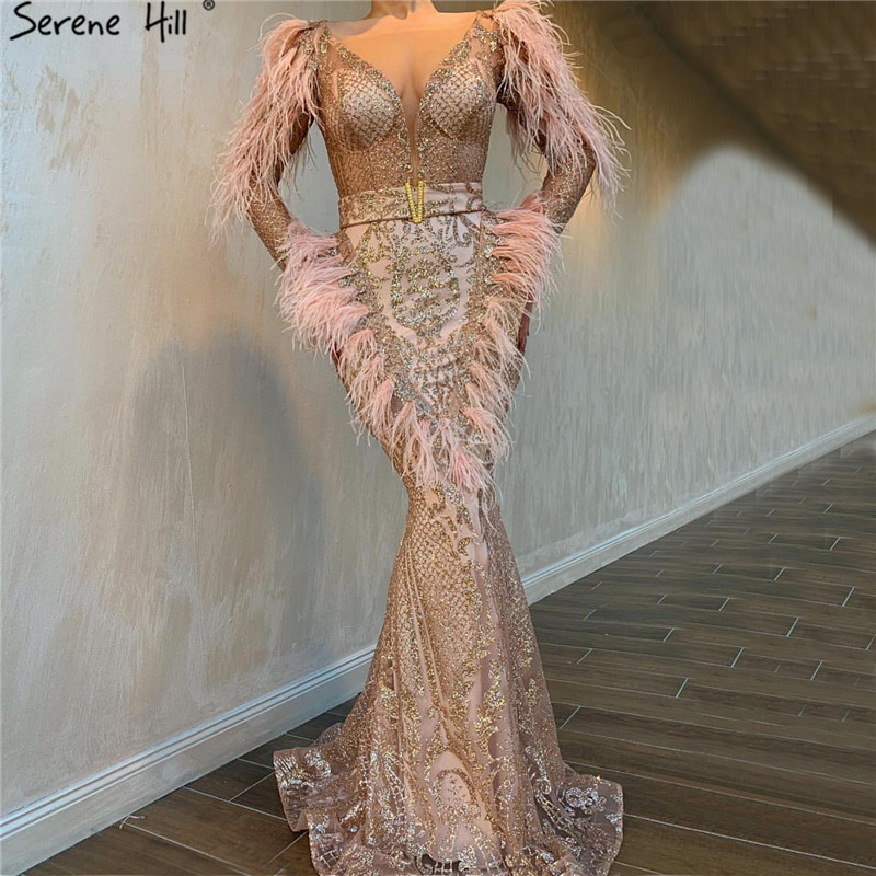 Dubai Luxury Rose Gold Mermaid Evening Dresses 2019 Feathers Sequined Sparkle Long Sleeves Evening Gowns Serene Hill LA60902