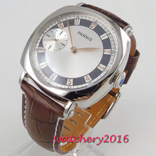 Luxury Brand 44mm Parnis White Dial Golden Hands Polished Case 6497 hand winding men's wrist watch все цены