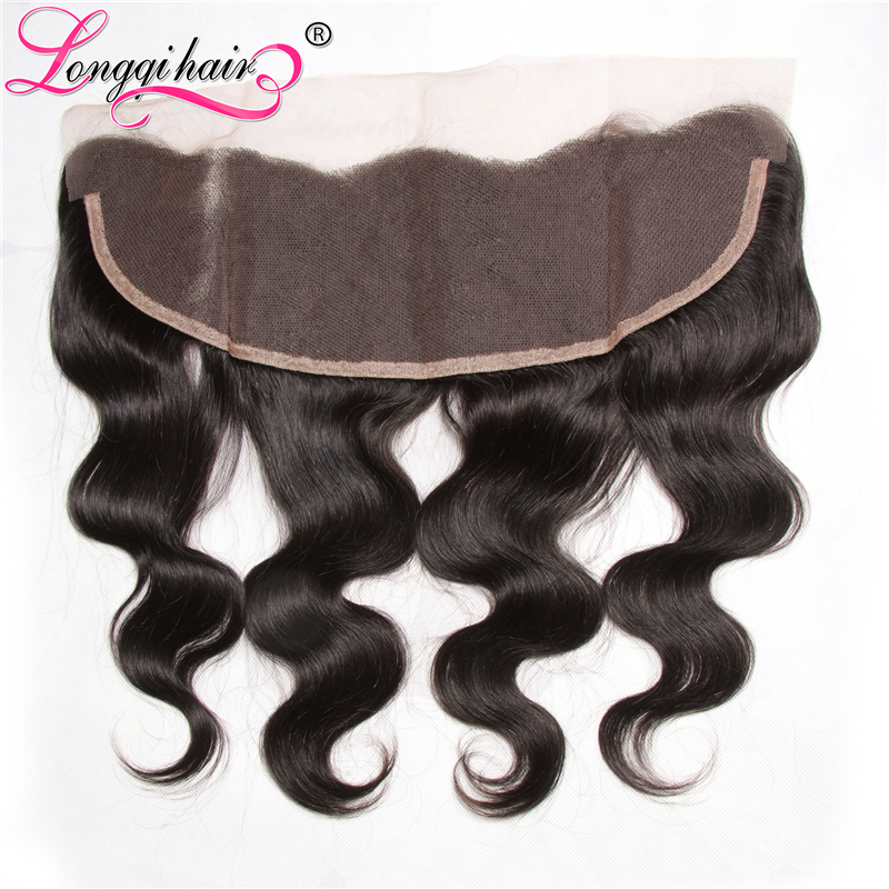 Longqi Hair 13x4 Free Part Malaysian Body Wave Lace Frontal Closure 120 Density Remy Human Hair