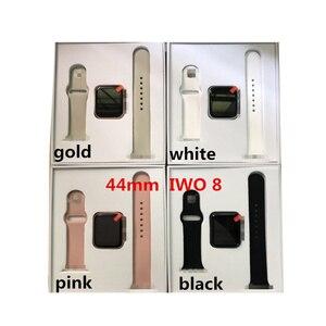 Image 2 - IWO8 умные часы + наушники + пленка/набор 2019 IWO 8 MTK2502C красная круглая кнопка 44 мм серия 4 reloj deportivo hombre для iphone 6 7 X
