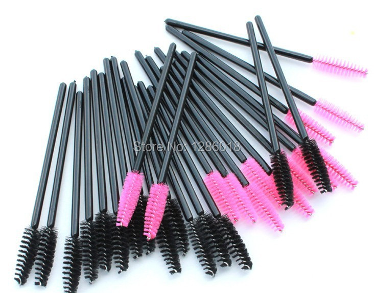 Free Shipping 1000pcs lot Eyelash Extension Hot Pink Disposable Mascara Wand eyelash Brushes with Adjustable Head