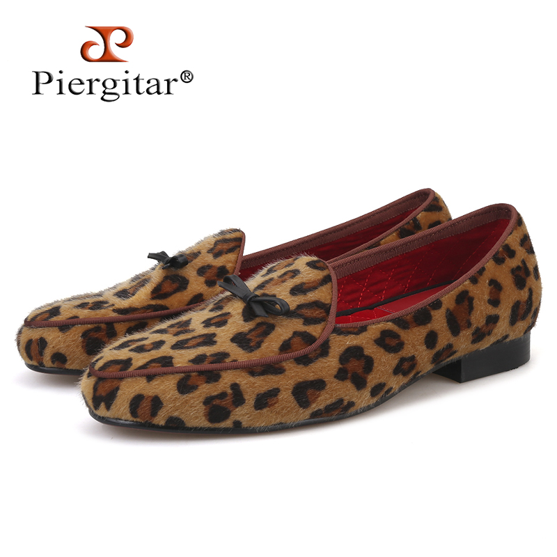 Piergitar new arrival Handmade men leopard velvet shoes with small tie and round tongue Fashion prom