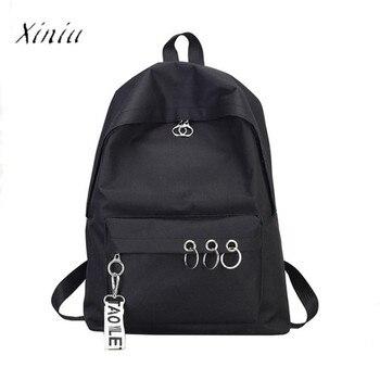Fashion Backpack Women Children Schoolbag Ring Decoration Shoulder Bookbags Satchel Travel Backpack for School Teenage Girls дамски часовници розово злато