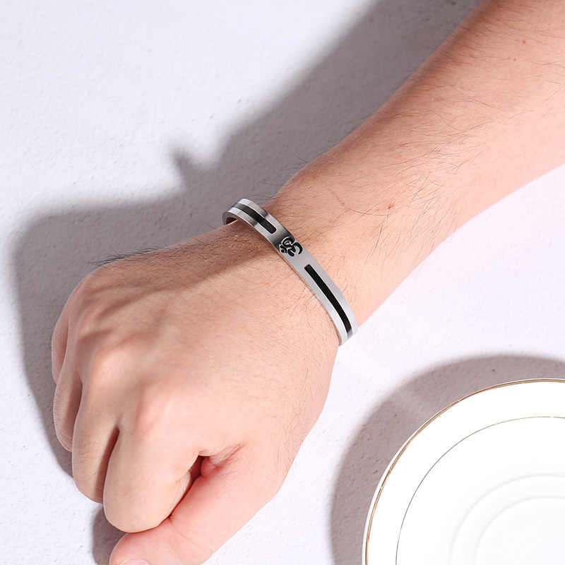 22b8df65326869 ... Vnox Casual AUM OM Bangle For Men Women Simple Stainless Steel Open Cuff  Bracelets Yoga Religious ...
