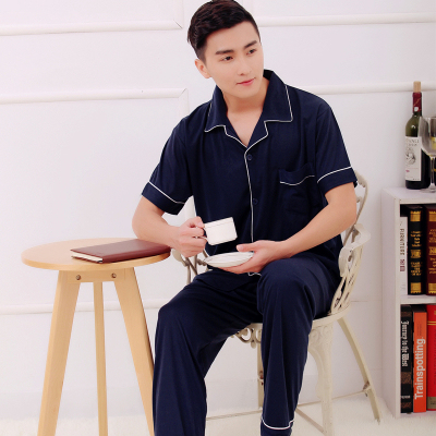 Pajamas Men's cotton short-sleeved trousers spring thin summer cardigan middle-aged cotton men's clothing set