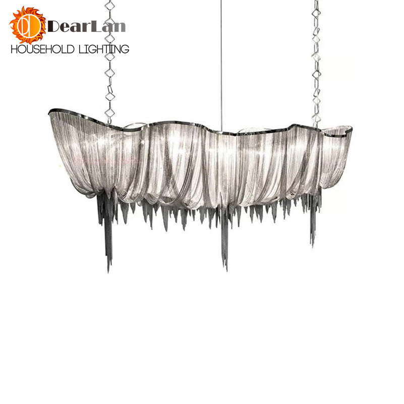 Modern Chain Cloth Shaped Art Pendant Lights Engineering Design Luxury Aluminum Chain LED Pendant Lamp For Indoor Decor(DZ-50) heart shaped decor star chain bag