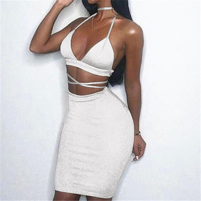 cbf71af92a05 Hot Selling Sexy Women Summer Dress Clothes Sets Hollow Out Bandage Crop  Tops +Mini Skirts Sexy Ladies Evening Party Clothes