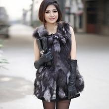 Women Fashion Fox Fur Vest Long Genuine Warm Waistcoat Female New Natural Fox Fur Gelit Fur Garment