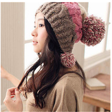 Large wool ball knitting Wool Skullies & Beanies Cotton patchwork Hat Fashion Casual Novelty Color Acrylic Women Cap protect ear