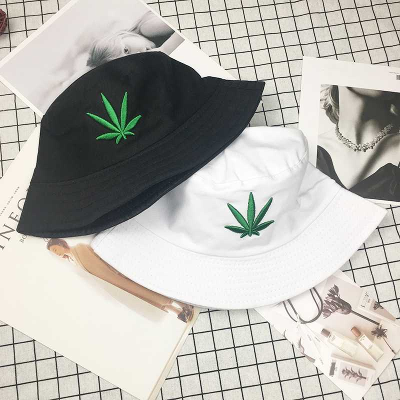 1PCs Men Women Maple Leaf Bucket Hat Hip Hop Fisherman Panama Hats Embroidery Outdoor Summer Casual Swag Bob Visor Bucket Cap