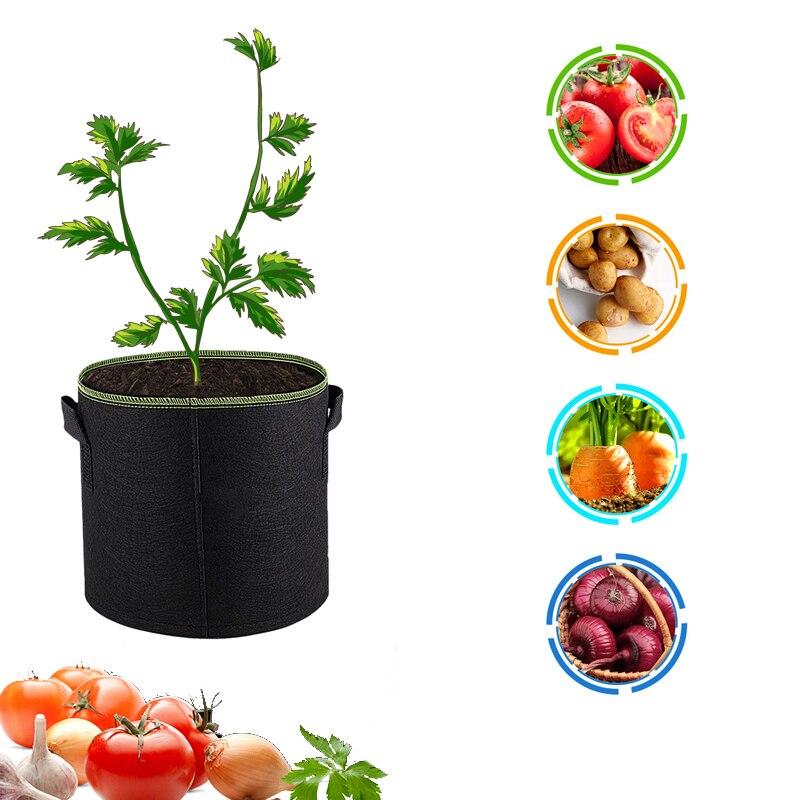1pcs Gallon Felt Plants Growing Bag Vegetable Flower Potato Pot Container Garden Planting Basket Farm Home Grow Bags