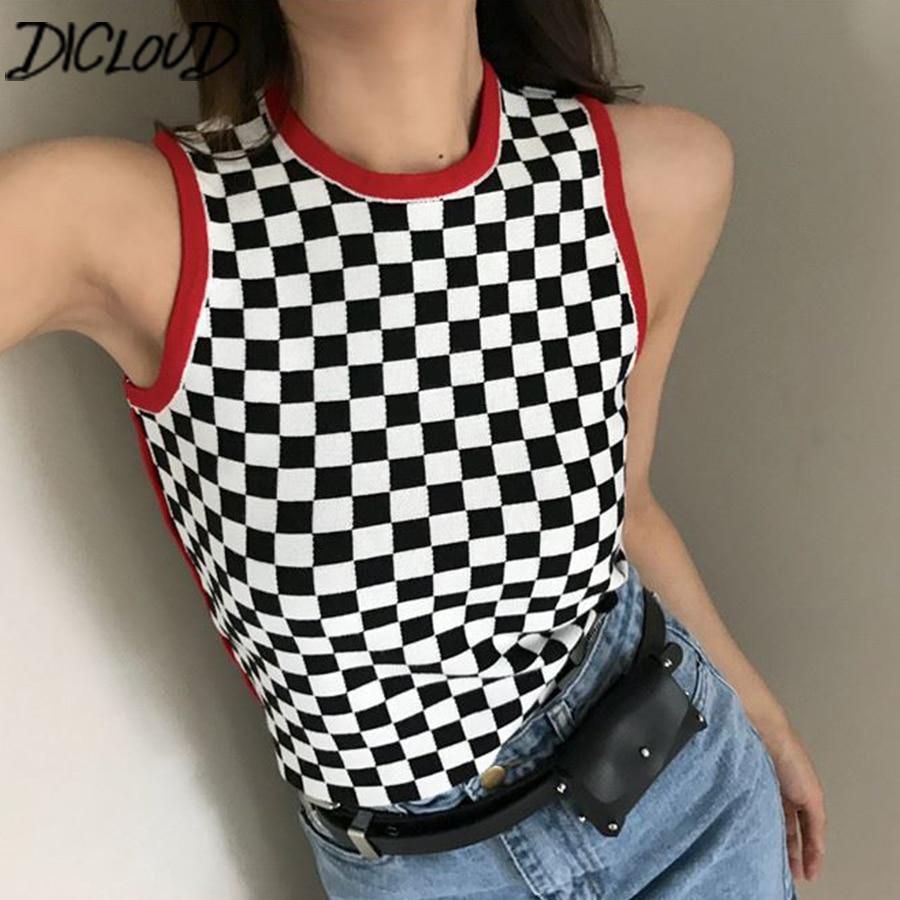 DICLOUD Black White Plaid Sexy Crop Top Women Harajuku Slim Sleeveless Tank Top Female 2018 Crochet Tops Summer Casual Shirt