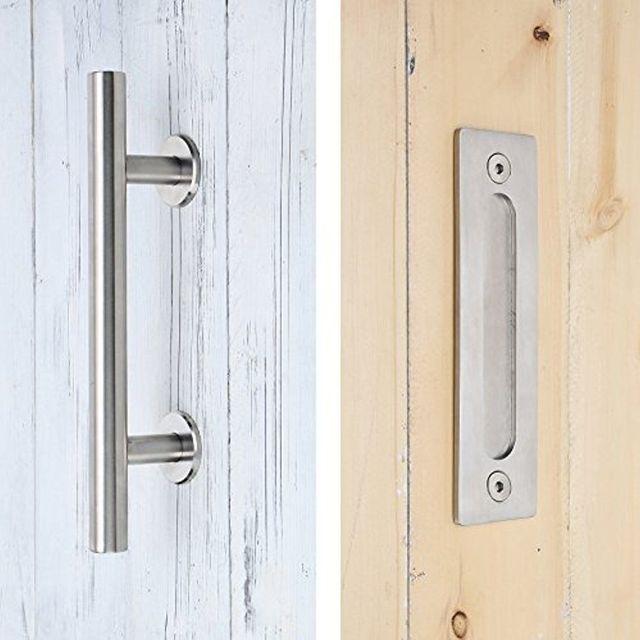 Brushed Stainless Steel Sliding Barn Door Handle Wood door handle ...