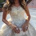 New Robe De Mariage Luxury Cathedral Train Wedding Dress Brautkleid With Beading Ball Gown Wedding Dresses 2017 Vestido De Noiva