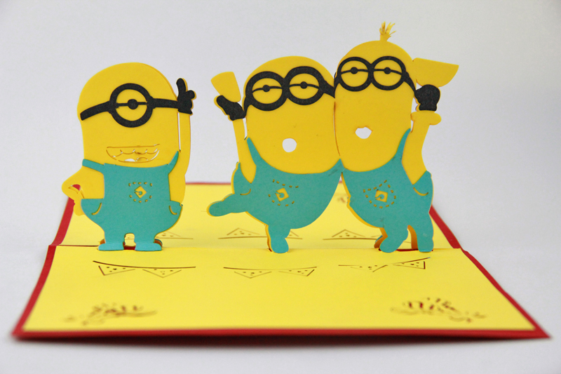 Minions greeting card /3D  card pop up card/ Super cute cartoon card customize Free shipping music card spiral pop up musical notes 3d card music instruments pop up card bday pop up card