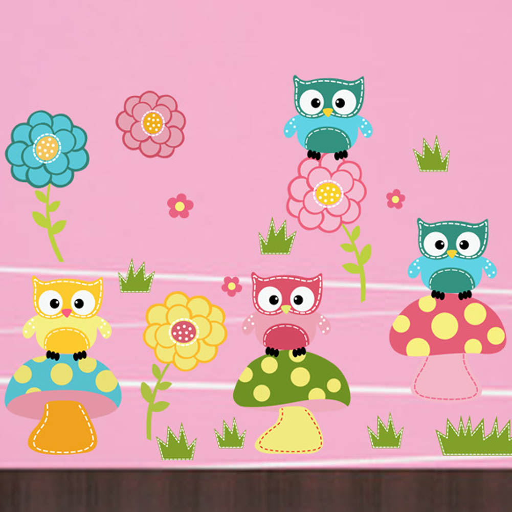 US $2.8 6% OFFWall Stickers Owl Mushroom Flower Decor vinyl Decal  Removable Children Bedroom-in Wall Stickers from Home u0026 Garden on  Aliexpress.com