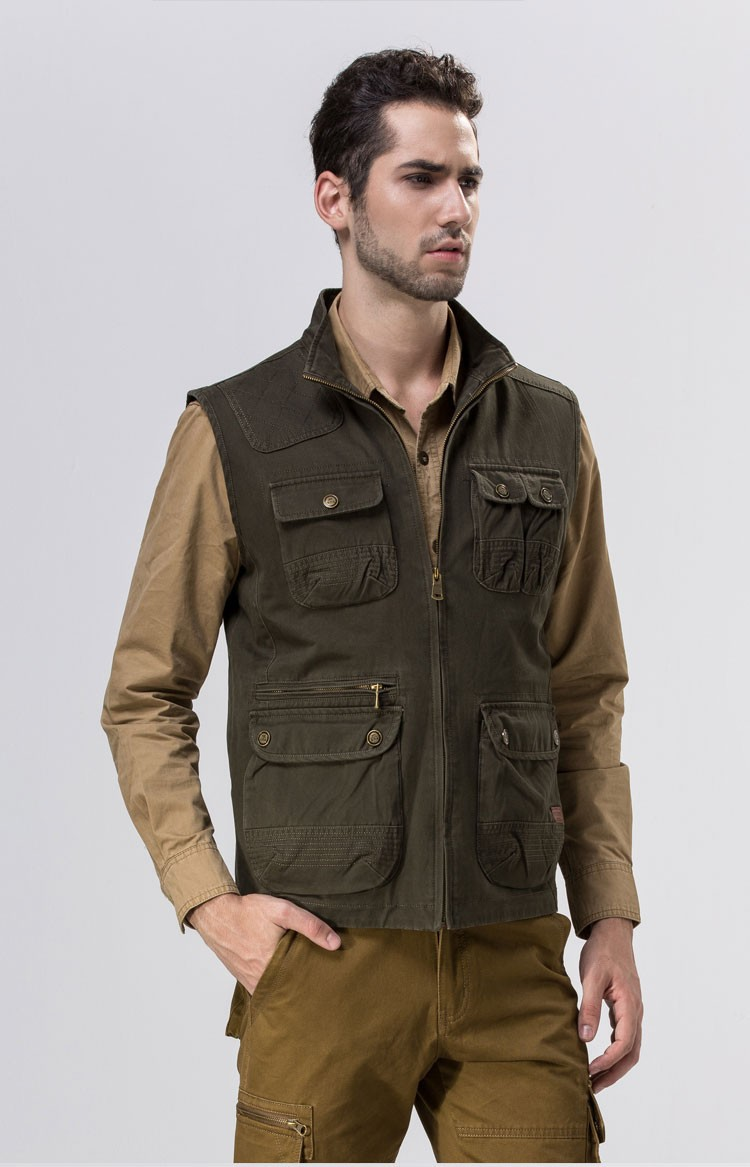 2015 Autumn Spring Casual Men Vest Coat AFS JEEP Cotton Multi Pocket 4XL Cargo Outdoor Hiking Sleeveless Jackets Waistcoat Vests (5)