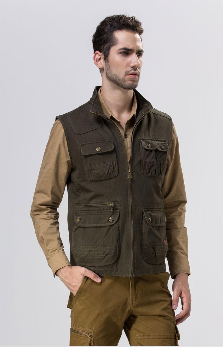 2015 Autumn Spring Casual Men Vest Coat AFS JEEP Cotton Multi Pocket 4XL Cargo Outdoor Hiking Sleeveless Jackets Waistcoat Vests (5)