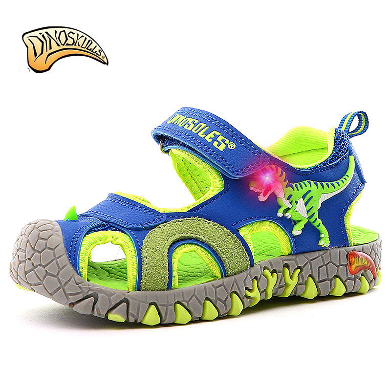 Dinoskulls Toddler Sandals Kids Light Up Baby Boys Sandals 3D Dinosaur Toddler Beach Summer Shoes 2019 Casual Children's Sandals