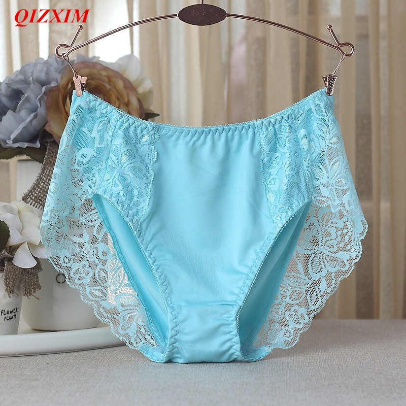 a71bde011d94 For 100KG MM Milk Silk Underwear Women High Quality Sexy Lace Briefs  Lingerie Cotton Crotch Mother
