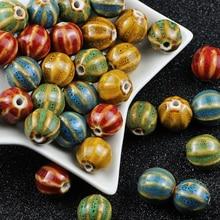 BTFBES 17mm 10Pcs Watermelon Flower Glaze Ceramic Beads DIY Round Porcelain Loose beads Women Jewelry Braided Bracelets Making