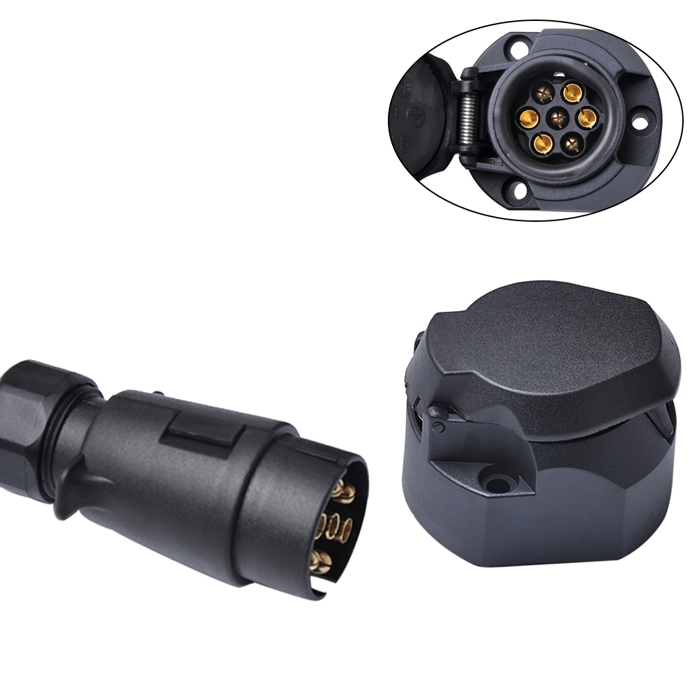12V 7 Pin Plastic European Standard Trailer Socket Plug Tow Bar Electrics Connector Car Trailer Waterproof Cable Connector