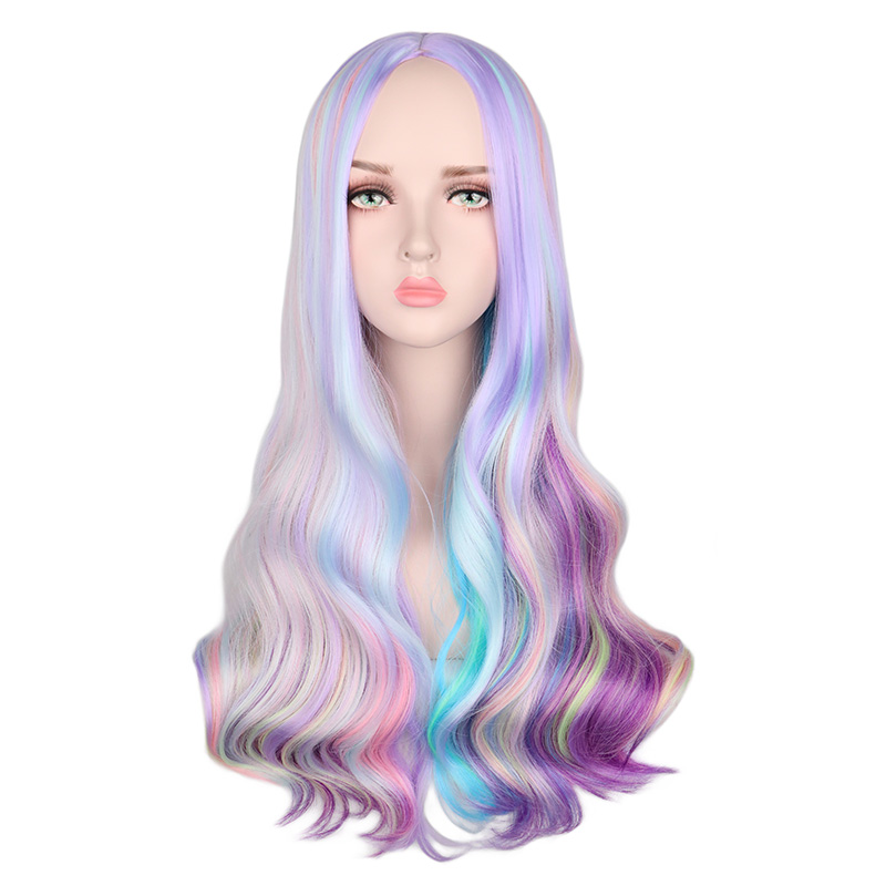 QQXCAIW Rainbow Colorful Long Wavy Wig Cosplay Party Women Heat Resistant Synthetic Hair Wigs