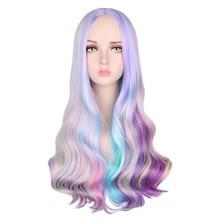 QQXCAIW Rainbow kolorowe długie faliste peruki na imprezę cosplay kobiety żaroodporne syntetyczne peruki do włosów