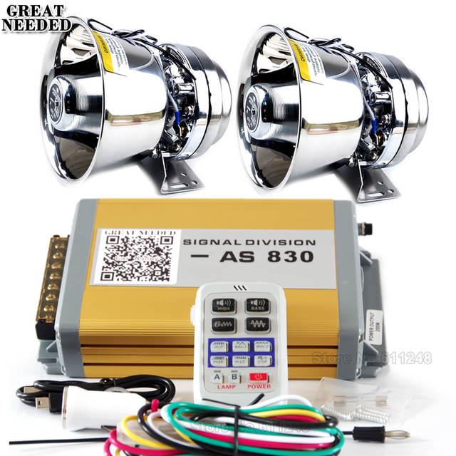 US $133 88 10% OFF|AS830 400W Police Wireless Siren Alarm 9 Sounds Siren  Horn Car Megaphone 200W Stainless Steel Loudspeaker Kit Car Styling-in