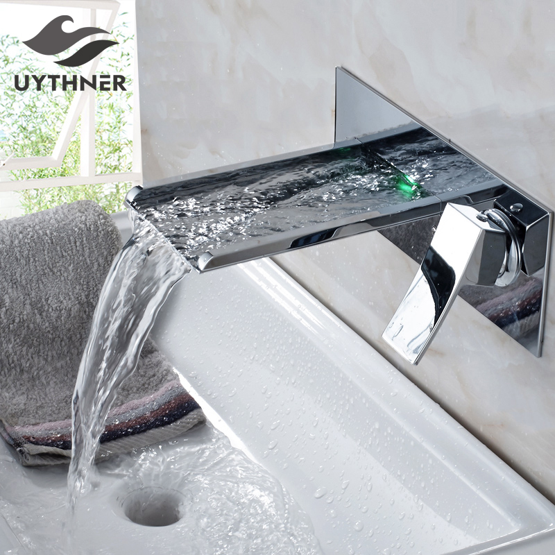 Uythner Bathtub Faucet Chrome Brass Wall Mount Waterfall Bathroom Faucet LED Spout Single Lever Vanity Sink