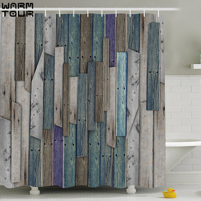 WARM TOUR Shower Curtain Old Bronze Wooden Garage Door Vintage Rustic American Country Style