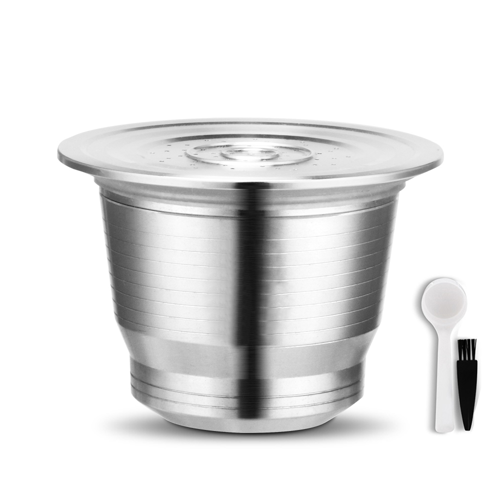 Brush:  Stainless Steel Refillable Reusable Coffee Capsule Cup Cafeteira Filter for Nespresso Coffeeware Coffee Filter with Spoon Brush - Martin's & Co