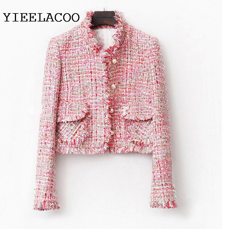Pink Tweed Jacket Spring / Autumn /winter Women's Jacket Coat Classic Ladies Wild Ladies Bright Wire Braided Tweed Jacket