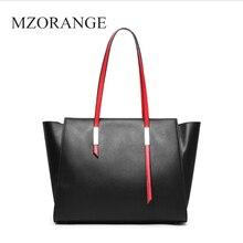 цена на MZORANGE fashion genuine leather tote bag for women handbag High capacity lady real Cowhide tote Girl shouldbag Simple fashion