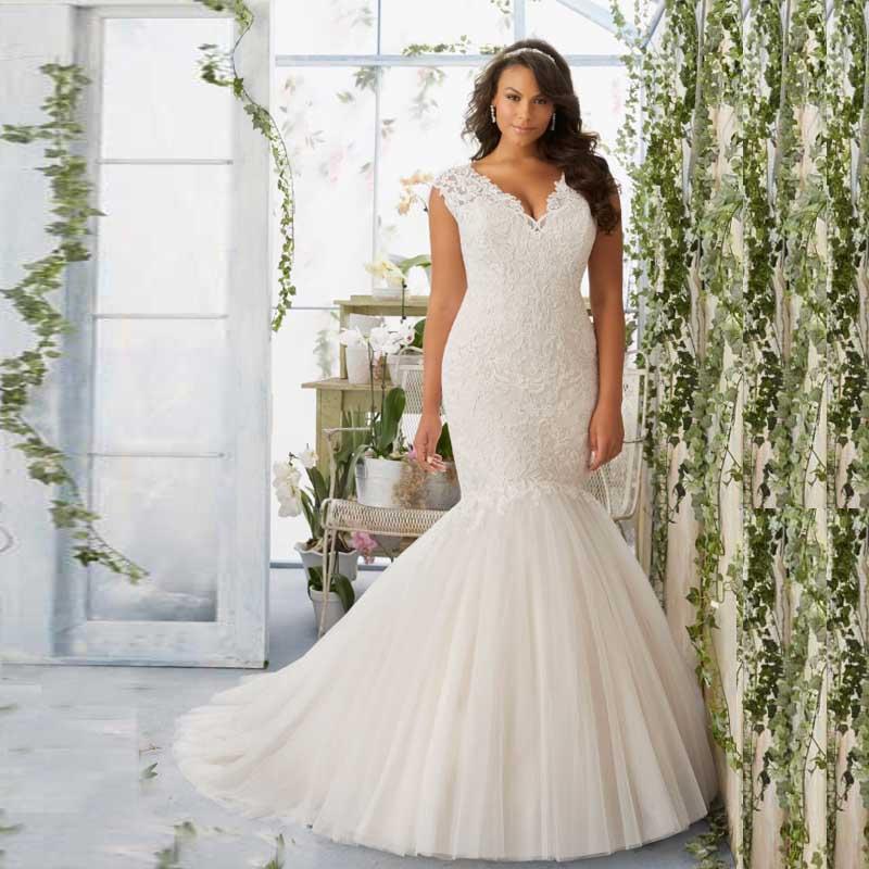 Wedding Online Fish Style Plus Size Bridal Dresses Vestidos Cap