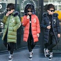2017 Winter Jacken für Jungen Kinder Pelz Kapuze Starke Ziper Mäntel Kinder Lange Warme Park Oberbekleidung Winterkleidung für junge