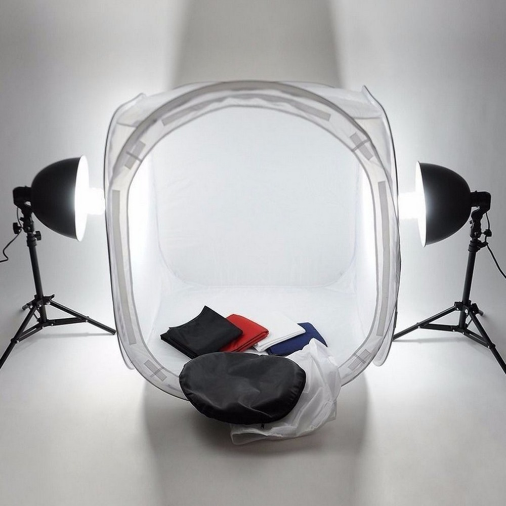 Estudio luz pro equipo fotográfico plegable 50 cm pop up Kits de estudio de fotografía soft box luz Softbox Iluminación Tienda 4 backdrops