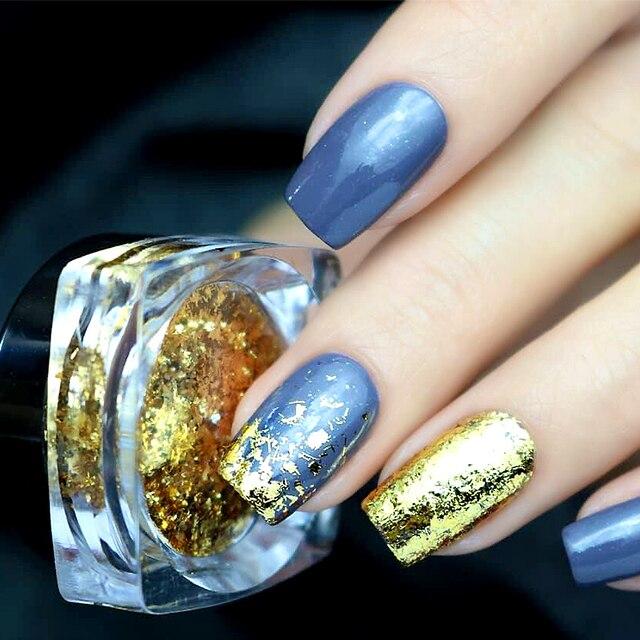 KADS 1 pc 0,2g oro plata papel polvo manicura uñas arte brillo polvo decoración Glitters pigmento DIY uñas holográfico
