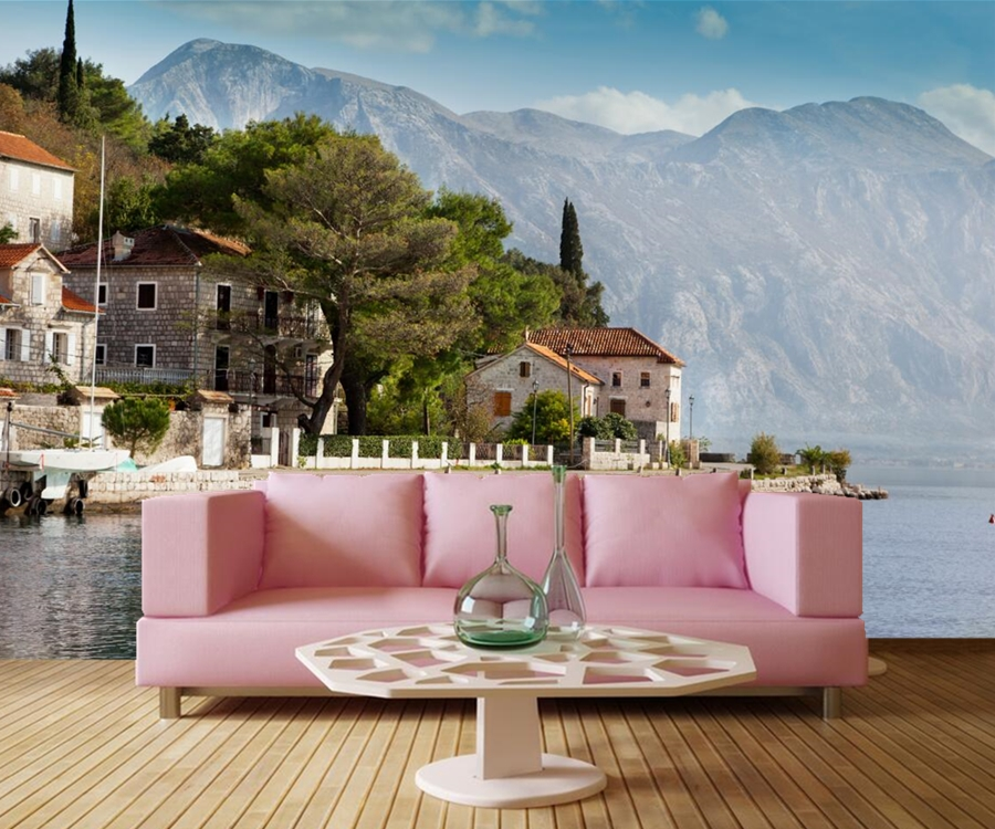 Papel de parede Montenegro Houses Mountains Sea City wallpaper,hotel room bar restaurant living room sofa TV wall bedroom murals custom 3d murals cartoon wolf papel de parede hotel restaurant coffee shop living room sofa tv wall children bedroom wallpaper